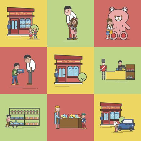 Illustration of toy store set Banco de Imagens