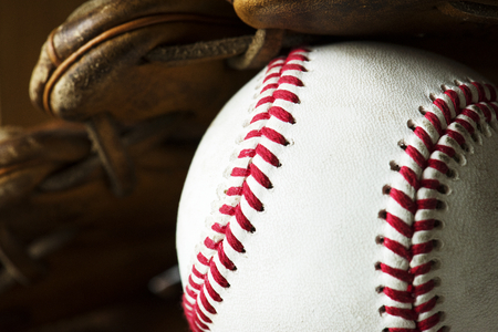 Closeup of baseball ball