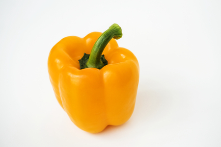 Macro shot of sweet bell pepper isolated on white background Stok Fotoğraf
