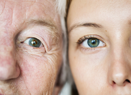 Family generation green eyes genetics concept Stock Photo