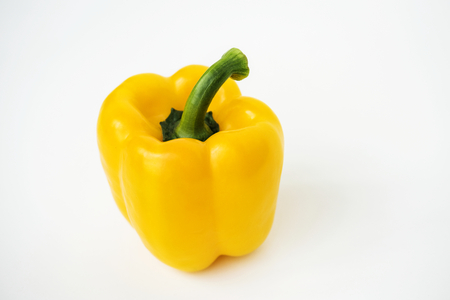 Macro shot of sweet bell pepper isolated on white background 写真素材