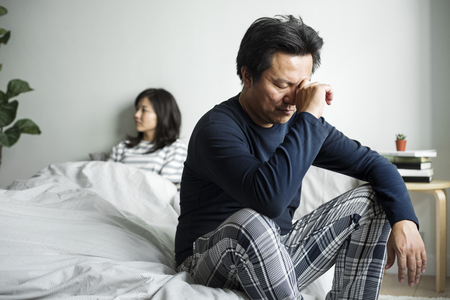 Asian couple have an argument