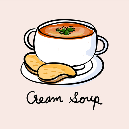 Illustration drawing style of soup Imagens