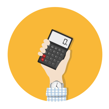 Illustration of hand and calculator