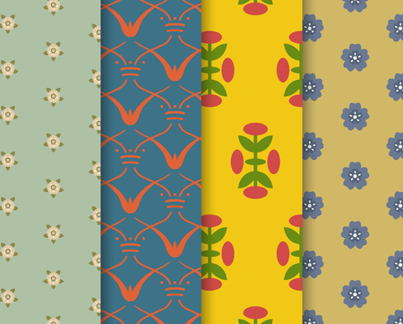 Set of 4 vintage patterns inspired by The Grammar of Ornament  Stock Photo