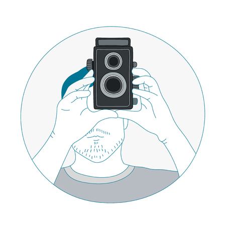 Illustration of analog film camera