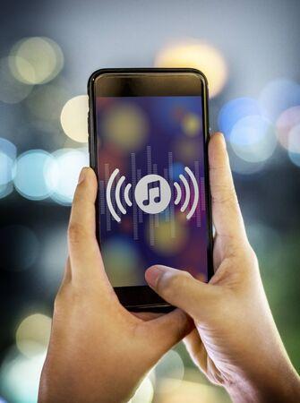 Smartphone music application concept Stock Photo