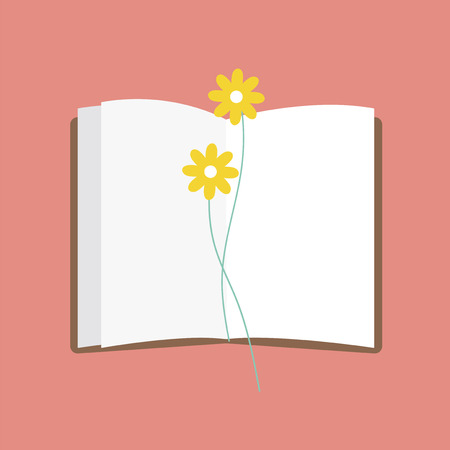 Book and flowers concept