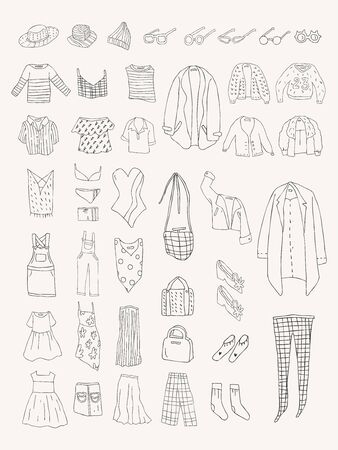 Illustration of different types of clothes Stok Fotoğraf - 96799513