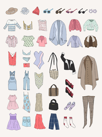 Illustration of different types of clothes Stock fotó