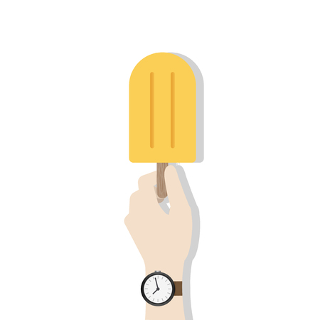 Hand holding ice cream pop concept