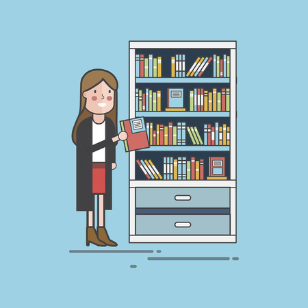 Girl in a library concept Stockfoto