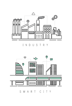 Industry with smart city concept Stock Photo