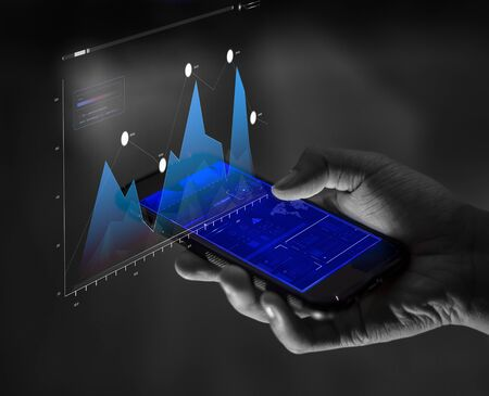 Smartphone finance and business analysis concept Stock Photo