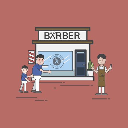 Illustration set of barber shop Standard-Bild - 96798189