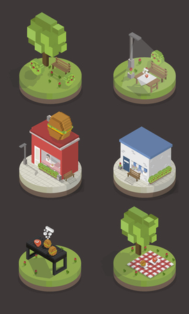 Illustration set of pixelated park and city models