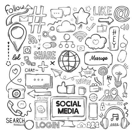 Illustration set of social media icons 写真素材