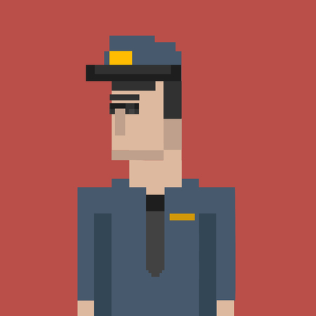 Pixelated police character concept Stock Photo