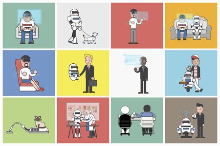 Collection of illustrated people and robots