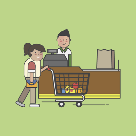 Illustration set of supermarket