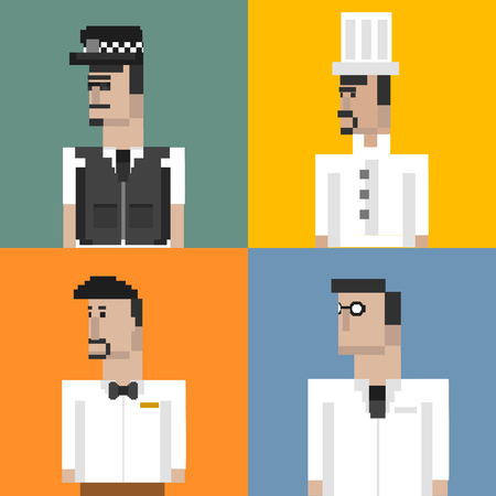 Pixelated characters concept Stockfoto