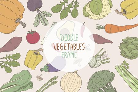 Doodle vegetables frame concept