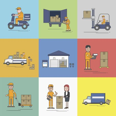 Illustration of logistics service  Banco de Imagens