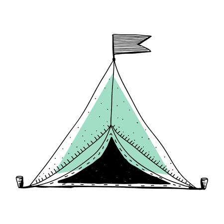 Doodle  of camping tent Reklamní fotografie - 96572152