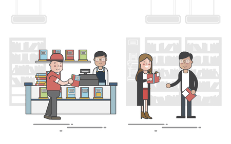 Illustration of book store  Imagens