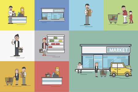 Illustration set of supermarket Imagens - 96568492