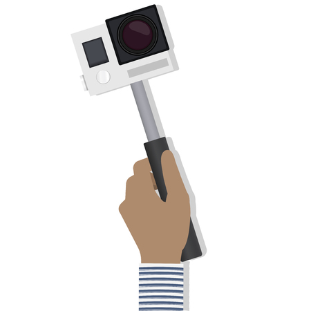 Hand holding an action camera concept