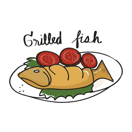 Illustration drawing style of grilled fish