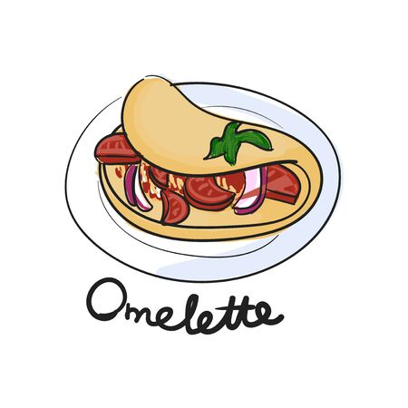 Illustration drawing style of omelette Banco de Imagens
