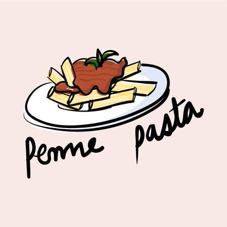 Illustration drawing style of pasta Stock Photo