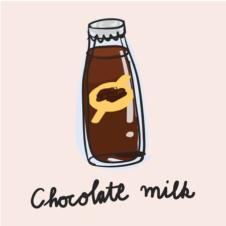 Illustration drawing style of chocolate milk