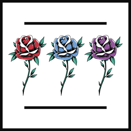 Red Blues Purple Rose Flowers Blooming Icon Illustration