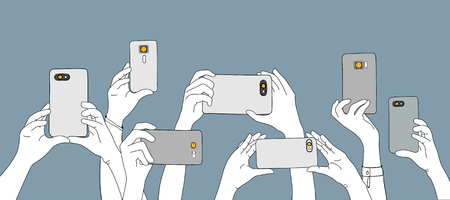 Illustration of hands taking photo with smartphone