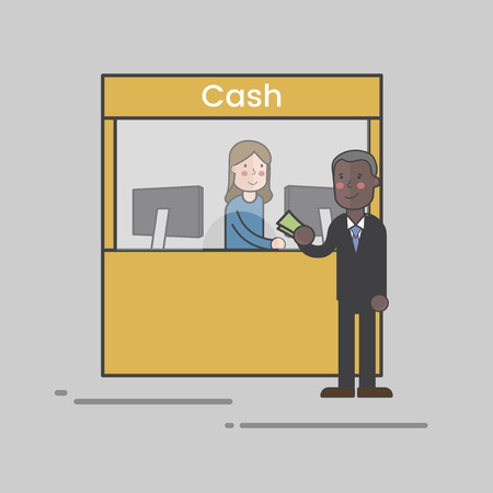 Cash counter in a bank concept