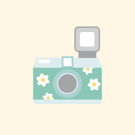 Camera with flowers concept Stock Photo