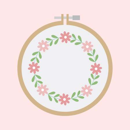 Wooden embroidery hoop concept Stock Photo