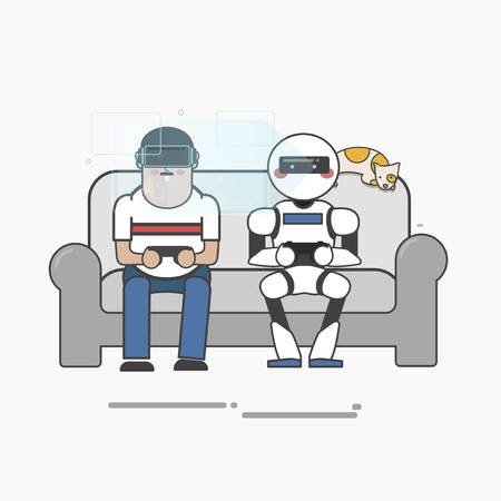 Man playing video games with a robot Imagens