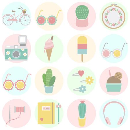 Collection of summer theme Фото со стока