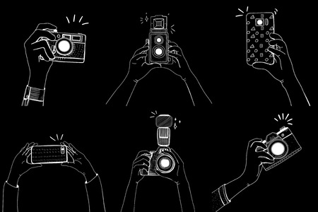 Collection of cameras in monochrome