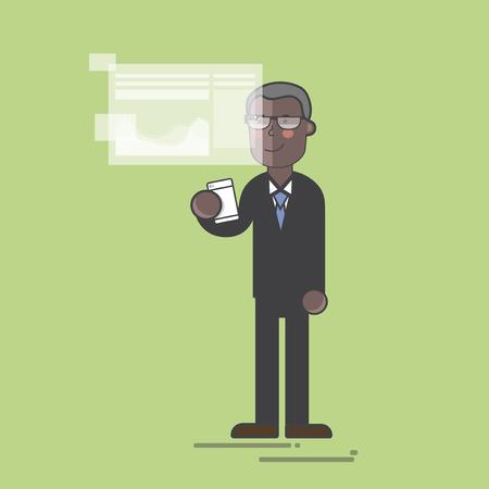 Businessman with a futuristic screen concept