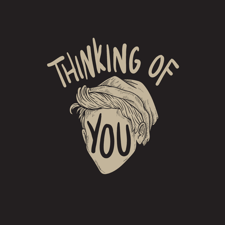 Thinking of You Word Graphic Concept Stock Photo