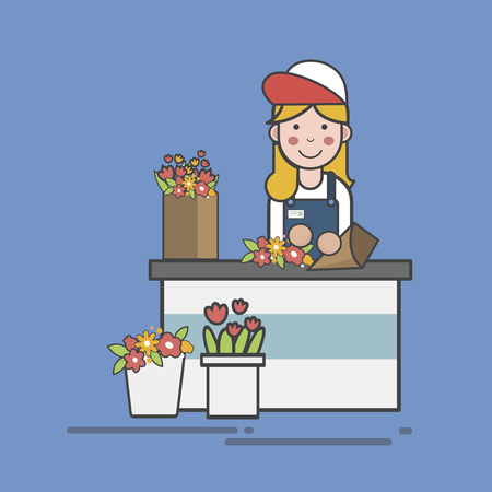 Illustration of flower shop Banco de Imagens - 96683939