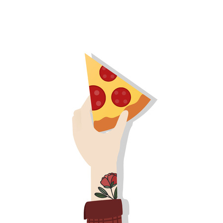 Hand holding a slice of pizza