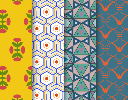 Set of 4 vintage patterns inspired by The Grammar of Ornament  版權商用圖片