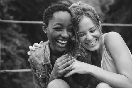 A cheerful lesbian couple