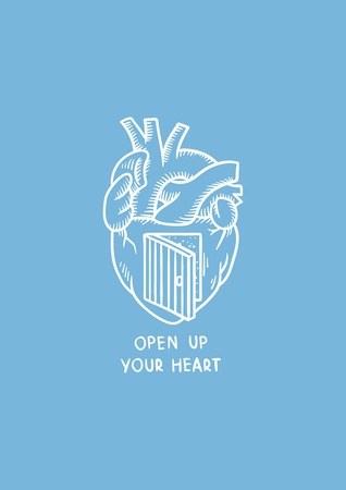 Heart with a door illustration